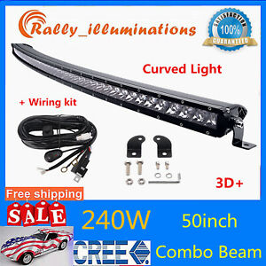 """50""""IN 240W Curved Single Row Slim Led Light Bar Combo Chevy Offroad 250W/288w"""
