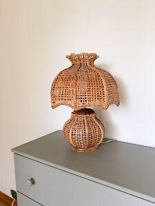 vintage boho japanese rattan lamp working
