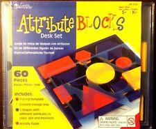 Math Manipulatives Learning Attribute Blocks Shapes Sizes sort Games Grade K 1 2