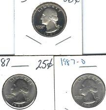 1987-S San Francisco Proof  with nice P & D Washington Quarters ( 3 Coins )!