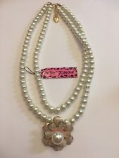 Charming Betsey Johnson  Sweater Chain Jewelry Camellia Pearl Necklace-BJ10001