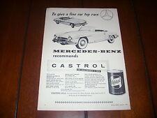 1956 MERCEDES BENZ CASTROL OIL  ***ORIGINAL VINTAGE AD***
