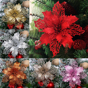 1PC Artificial Fake Flower Christmas Tree Decorations Poinsettia Glitter Xmas