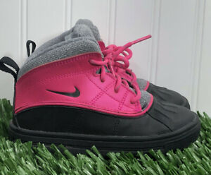 Nike Woodside Winter Boots High Toddlers Pink Foil Black Grey 524878-600 Sz 9C