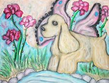 Cocker Spaniel Faery Original Painting 9 x 12 Vintage Style Art Fairy Dog Roses