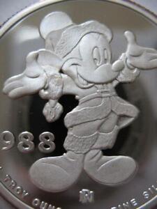 1-OZ.SILVER COIN DISNEYS SANTA MICKEY 1988 HOLIDAYS CHRISTMAS-NEW YEAR  + GOLD