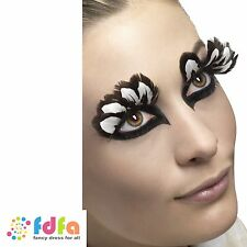 BROWN & WHITE FEATHER EYELASHES - contains glue - ladies womens fancy dress