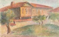 Impressionism vintage watercolor painting landscape house