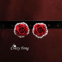 Rose Silver Crystal Flower Stud Earrings Womens jewelry Accessories New Fashion