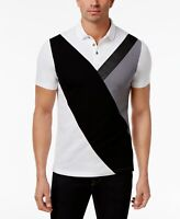 INC NEW White Mens US Size 2XL Colorblock Faux Leather Trim Polo Shirt $39 #159
