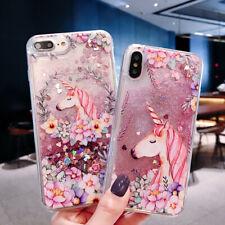 Cute unicorn Dynamic Liquid Glitter Fashion Phone Case Cover For iPhone/Samsung