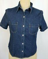 Vintage Levis Blue Tab Womens Denim Shirt Small Short Sleeve Button Front Top