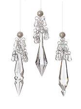 3 x style vintage sparkle pretty crystal drop arbre de noël baubles décorations