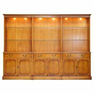 TRIPLE BANK BRADLEY FURNITURE BURR YEW WOOD LIBRARY DISPLAY BOOKCASE WITH LIGHTS