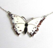 Vintage solid silver sterling enamel butterfly pendant Sheffield hallmarks 1980