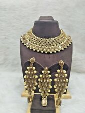 Pearl Kundan Necklace Earrings Tikka Gold Plated Bollywood Bridal Indian Jewelry