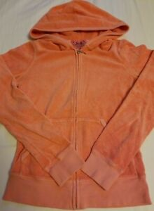 Juicy Couture Coral Terry Cloth zip-up Hoodie size Petite Made in USA