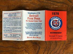 1979 DETROIT TIGERS Pocket Schedule   Detroit Free Press