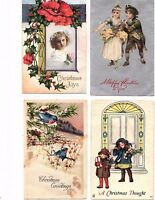 1920's Vintage Christmas Postcards lot of 4