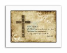 PSALM 46 GOD OUR REFUGE CROSS CHRISTIAN RELIGIOUS Quote Canvas art Prints
