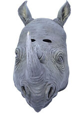 Adult Rhino Rhinoceros Rubber Head Overhead Mask Fancy Dress Accessory Safari