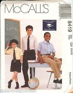 McCalls 8419 BOYS French Toast SCHOOL UNIFORM pants shirt sewing pattern UNCUT