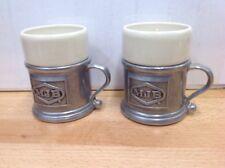 2 Wilton Armetale Plough Tavern Pewter Mug Holder w/RWP Ceramic Liner Cup 166-72