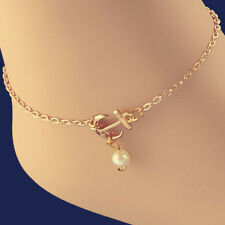 Charm Anklet Anchor*White Pearl Bead Bracelet Ankle Foot Sandal Chain Beauty EP