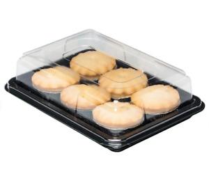50 x Mini Party Platters + Lids.Reusable +100% Recyclable (250mm x 180mm x 70mm)