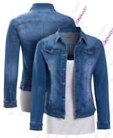 Womens Size 14 12 10 8 6 16 Stretch Fitted Denim Jacket Ladies Jean Jackets Blue