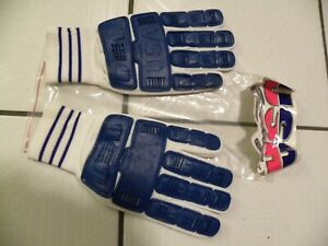 USA RACERS knit white, blue & white leather GLOVES men's XL cycle M-X  MOTOCROSS