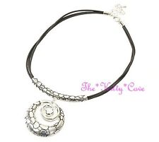 Silver Spritual Enlightenment Spiral Statement Pebbles Pendant Choker Necklace