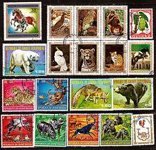 GUINEE 13 timbres +1 bloc de 6 timbres oblitérés Les animaux sauvages 180T5