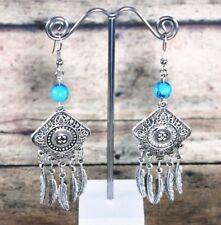 Ethnic Tibetan Silver Blue Turquoise Gemstone Earrings b3