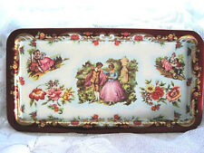 Lithograph Floral Tole Tin Tray -Victorian Scenes Maroon White Made in England