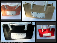 FAUX SOFT LEATHER LADIES DESIGNER INSPIRED HANDBAG CONTRASTING HANDLES 4 COLOURS