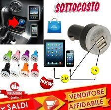 CARICABATTERIE CARICATORE PHONE IPAD ACCENDISIGARI AUTO DOPPIA USB 2 PORTE 2.1A