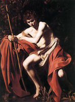 Large Oil painting male portrait St John the Baptist in field have a rest canvas