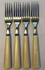 Cambridge Stainless Plastic Handle Flatware Set of 4 Forks Tan