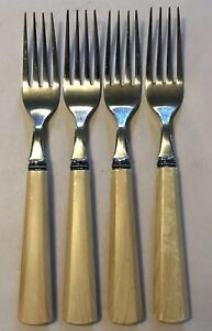 Cambridge Stainless Plastic Handle Flatware Set of 4 Forks Tan Faux Wood Grain