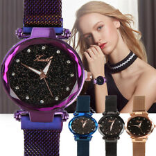 Ladies Watch Starry Sky Diamond Dial Women Bracelet Watches Magnetic Stainless N