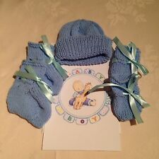 Hand Knitted Premature Baby Hat, Mitts, Bootees And  Card