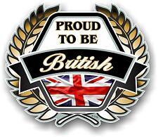 PROUD TO BE British Golden Crest Emblem & Union Jack Flag car helmet sticker