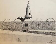 1963 INK DRAWING ISLAMIC CITYSCAPE MINARET SIGNED