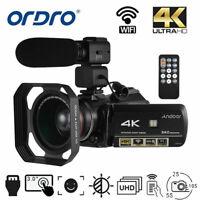 ORDRO WiFi 4K ULTRA HD 24MP 30X ZOOM Digital Video Camera Camcorder DV Recorder#