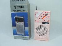 """YOKO D28H-P Mini Radio Vintage AM/FM Rose """"NEUVE"""" DO-8 neuf ancienne Hong-Kong"""