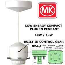 MK LOW ENERGY SAVING COMPACT FLUORESCENT PENDANT LAMP HOLDER G24Q-1 1196 10W/13W