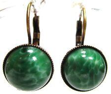 SoHo® Ohrhänger vintage bohemia Glas 12mm dark green marble Jade grün 60er Jahre