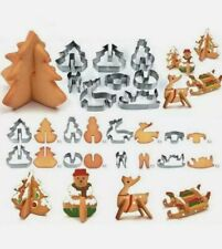 8pcs/set Stainless Steel 3D Christmas Cookie Cutters Cake Cutter Baking Mold