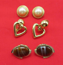 3 Pair Vintage Signed Clip On Earrings Monet Heart Trifari Pearl Coventry 890g